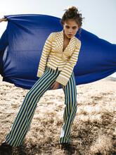 Yellow Blue Stripes Fashion