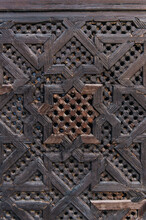 Traditional Ornate Carved On The Wooden Door In Morocco
