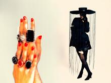 Woman Retro Style Collage Art