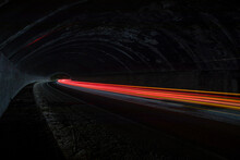 Car And Truck Light Trails. Long Exposure Photo Taken In A Tunnel Below Veliko Tarnovo