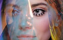 Beauty Portrait With Transparent Holographic Foil