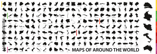 Fototapeta Collection of outline shape of international country map in black