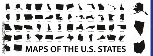Платно Collection of outline shape of US states map in black.