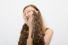 Woman With Tree Bark Covering Face