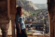 Camera Unaware Portrait Of European Woman Travelling In India