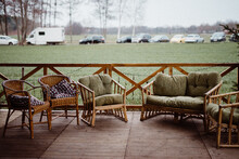 All Kind Of Rotan Chairs On A Porch
