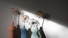 Dried Allium Flowers In Vases