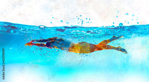 Canvas Print Young swimmer in watercolor