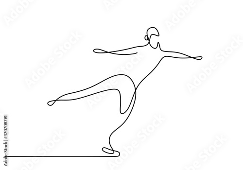 Fototapeta One continuous line drawing of figure skating guy