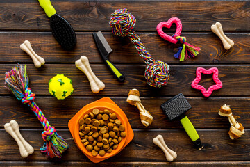 Toys for dogs with dry food and accessories, top view