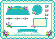Cute Pansy Graphic Elements Lace Frame Background Set
