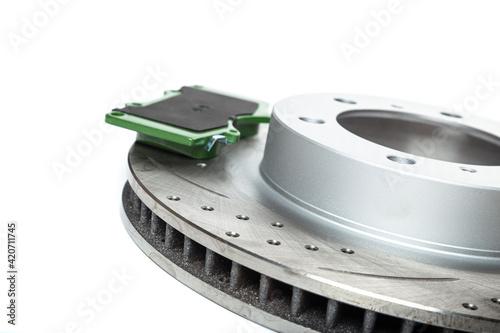 Obraz na plátne Perforated brake discs, ceramic pads - everything for better braking