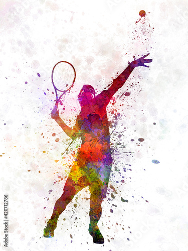 Photographie tennis player at service serving silhouette 01