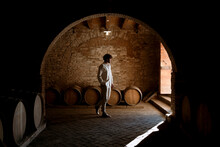 Young Winemaker Inside His Winery In The Countryside