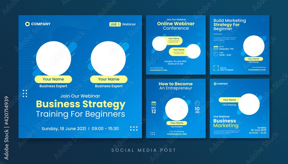 Fototapeta Business strategy webinar social media post template