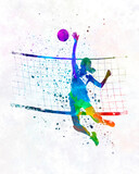 Woman volleyball player in watercolor