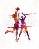 Women volleyball players in watercolor