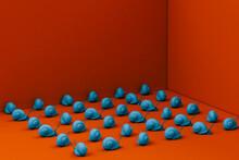 Illustration Of Blue Snails On Red Background