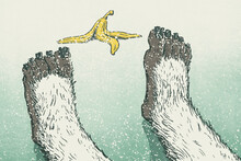 Yeti Feet Slipped On Banana Peel In Winter