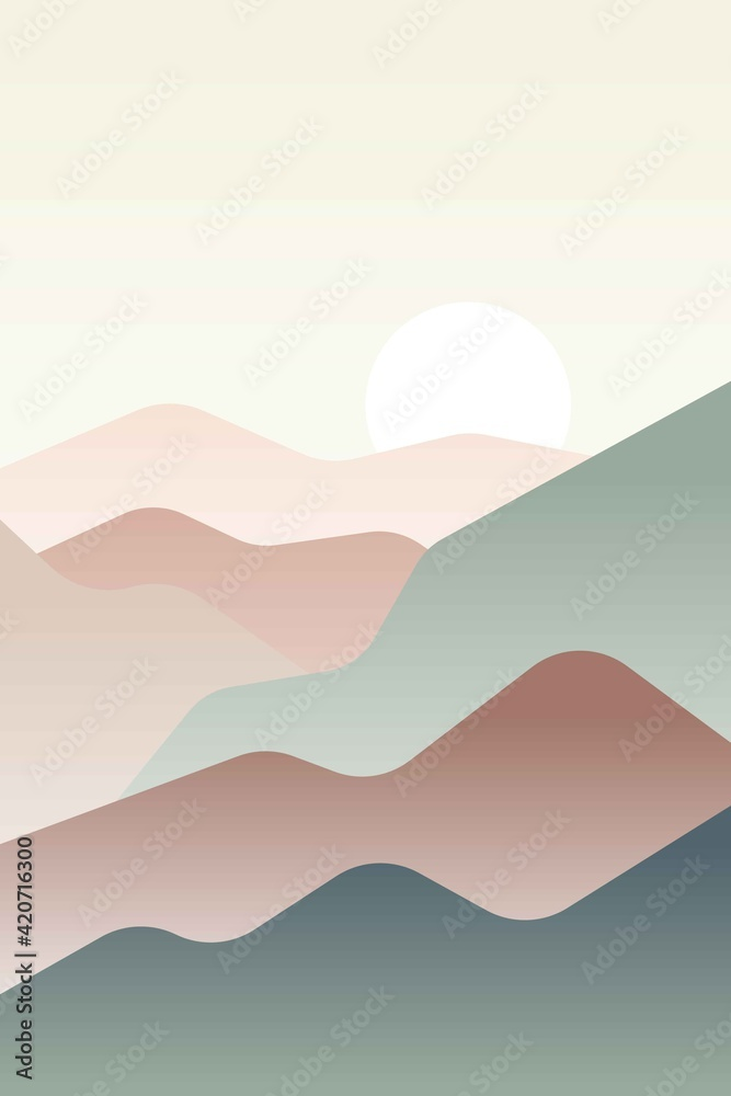 Fototapeta Landscape with Japanese wave. Beige, brown, yellow, green gray and white. Mountains and hills. Sandy dunes. Nature and ecology. Vertical orientation. Template for social media, post cards and posters