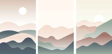 Set Of Landscape With Japanese Wave. Beige, Brown, Yellow, Green Gray And White. Mountains And Sandy Dunes. Nature And Ecology. Vertical Orientation. Template For Social Media, Post Cards And Posters