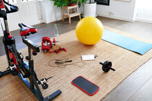 Exercise Equipment On A Living Room Floor