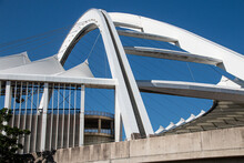 Closeup View Of The Arch Of The Moses Mabhida Stadium