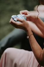 Woman With Handkerchief In Her Hand