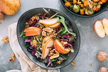Delicious Salad With Apple, Pear And Walnuts