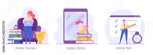 Fototapeta Online education vector illustration set. Concept of online courses, e-learning, digital library, e-book, online exam, examination and testing in university, college. Flat illustration for UI, banner obraz