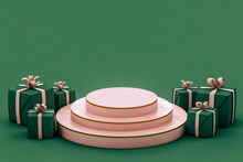 Green And Pink Christmas Gifts On Green Background With A Pink Podium
