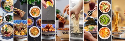 Obraz na plátně Horizontal japanese asian cuisine dishes collage menu design