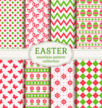 Happy Easter! Set Of Cute Holiday Backgrounds. Collection Of Seamless Patterns In White, Pink And Green Colors. Vector Illustration.