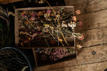 Dried Flowers On The Floor Of A Barn