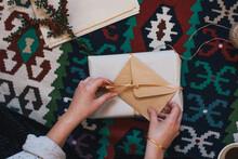 Woman Wraping Christmas Presents