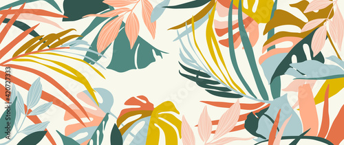 Abstract art nature background vector. Modern shape line art wallpaper. Boho foliage botanical tropical leaves and floral pattern design for summer sale banner , wall art, prints and fabrics. - fototapety na wymiar