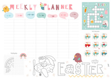 Easter Weekly Planner With Cute Easter Bunny In Cartoon Style. Kids Schedule Design Template. Included Mini Games - Maze, Coloring Page,  Find Same Pictures. Vector Illustration.
