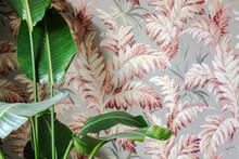 Fake Plant And Retro Wallpaper