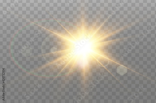 Photo Vector transparent sunlight special lens flare light effect.