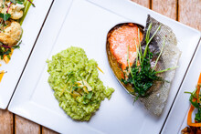 Salmon And Green Risotto