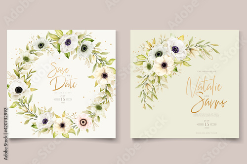 Valokuvatapetti Watercolor poppy anemone invitation card