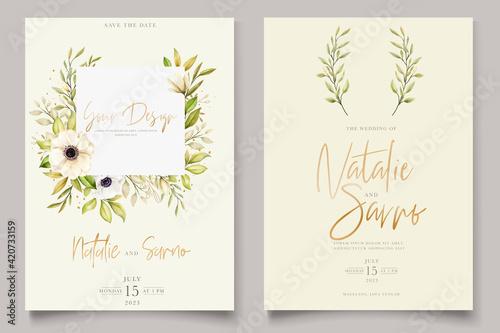 Obraz na plátně Watercolor poppy anemone invitation card