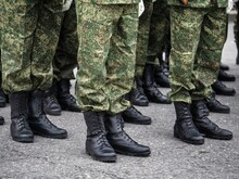 Detail Of Soldiers Standing At Attention During Military Ceremony.