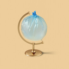 Globe Made From An Inflated Plastic Bag.