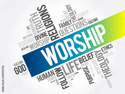 Tela Worship word cloud collage, social concept background