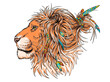 Beautiful lion head in boho style illustration. Illustration in a hand-drawn style. Wild animal with pigtails and feathers. Stylish image for printing on any surface