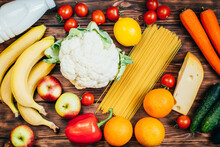 Top View Set Of Food Vegetables Fruits Dairy Products On Wooden Background