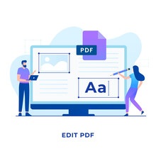 PDF Edit FIle Illustration Concept. Illustration For Websites, Landing Pages, Mobile Applications, Posters And Banners