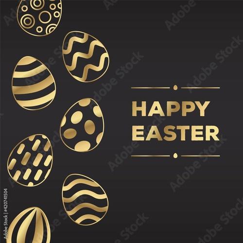 Happy Easter golden eggs composition on black background. Decorative vertical stripe of eggs.