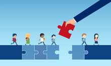 Vector Of A Businessman Hand Holding A Puzzle Piece Bridging The Gap In Primary Education For Children Passing By